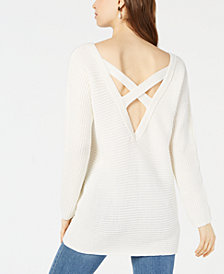 Bar III Crisscross-Back Sweater Tunic, Created for Macy's