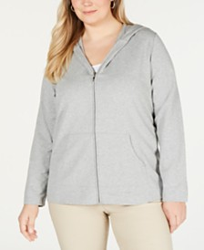 Karen Scott Plus Size Hoodie Jacket, Created for Macy's