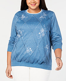 Alfred Dunner Plus Size Embroidered Sweater