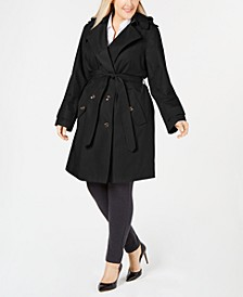 Plus Size Hooded Double-Breasted Trench Coat