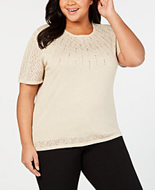 Alfred Dunner Plus Size Shinning Moments Beaded Pointelle-Knit Sweater