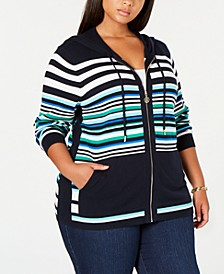 Plus Size Cotton Striped Hoodie Top, Created for Macy's
