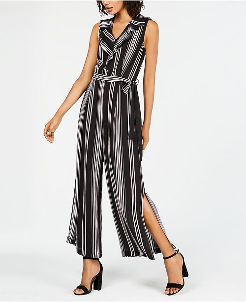 6b7218b2804 Monteau Petite Striped Wide-Leg Jumpsuit   Reviews - Pants   Capris ...