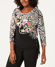JM Collection Leopard-Print Lace-Up Top, Created for Macy's