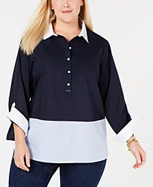 Tommy Hilfiger Cotton Plus Size Colorblocked Top, Created for Macy's
