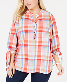 Tommy Hilfiger Cotton Plus Size Plaid Top, Created for Macy's