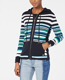 Tommy Hilfiger Cotton Striped Hoodie Sweater, Created for Macy's