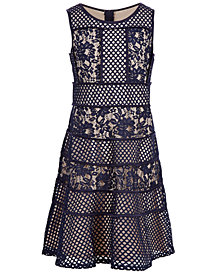 Us Angels Big Girls Blocked Lace Dress