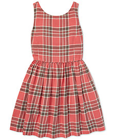 Polo Ralph Lauren Big Girls Plaid Cotton Fit & Flare Dress