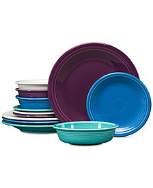 Fiesta Classic 12-Pc. Coastal Colors Dinnerware Set, Service for 4