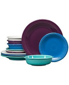 Fiesta Coastal Colors 12-Pc. Classic Dinnerware Set, Service for 4