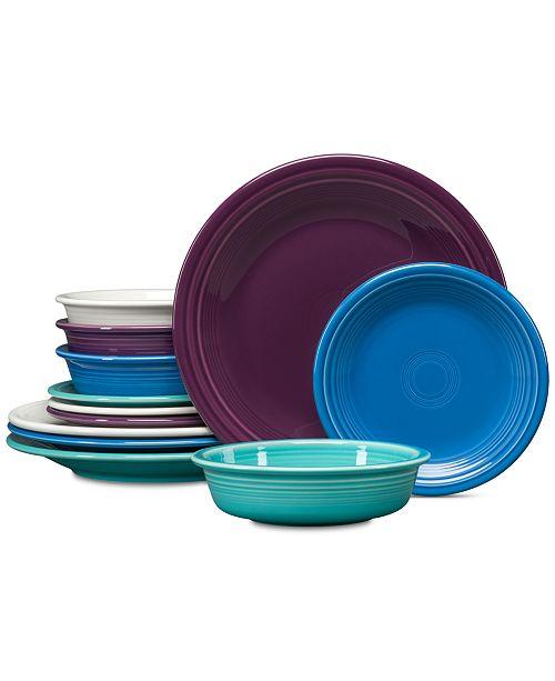 Fiesta Coastal Colors 12-Pc. Classic Dinnerware Set, Service for 4