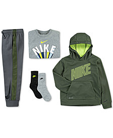 Nike Little Boys Mesh Logo Hoodie, Wins-Print T-Shirt, Jogger Pants & 2-Pk. Dri-FIT Crew Socks