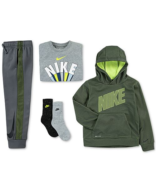 Nike Little Boys Mesh Logo Hoodie, Wins-Print T-Shirt, Jogger Pants & 2-Pk. Dri-FIT Crew Socks