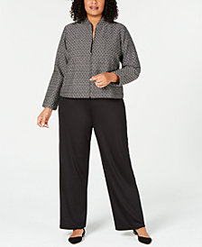 Eileen Fisher Printed Zippered Blazer