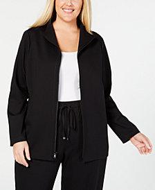 Eileen Fisher Plus Size Ponte Stand-Collar Jacket