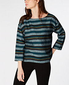 Eileen Fisher Printed Organic Linen Top, Regular & Petite