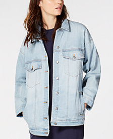 Eileen Fisher Organic Cotton Stretch Denim Oversized Classic-Collar Jean Jacket