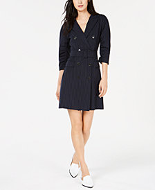 Marella Raft Pinstriped Belted Dress