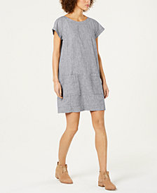 Eileen Fisher Hemp Cap-Sleeve Shift Dress, Regular & Petite, Created for Macy's