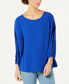 Eileen Fisher Silk Bateau Neck Bracelet Top