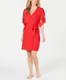 I.N.C. Lace-Sleeve Chiffon Wrap Robe, Created for Macy's