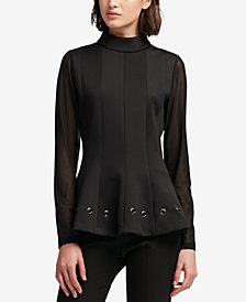 DKNY Turtleneck Peplum Top, Created for Macy's