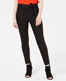 Bar III Tie-Front Skinny Pants, Created for Macy's
