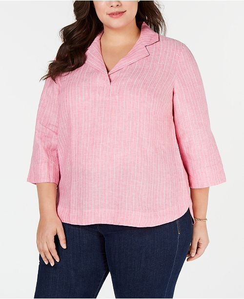 Charter Club Plus Size Linen Popover Shirt, Created for Macy's