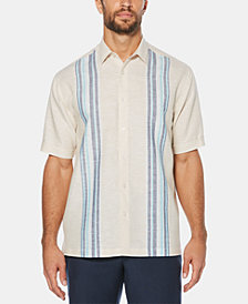 Cubavera Men's Engineered Striped Panel Short-Sleeve Linen Shirt