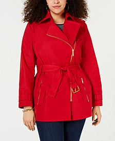 MICHAEL Michael Kors Plus Side-Zip Trench Coat