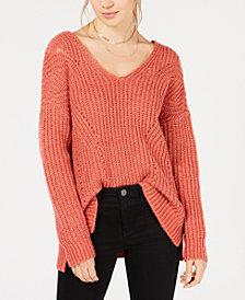 Hippie Rose Juniors' Crisscross-Back Pointelle Sweater
