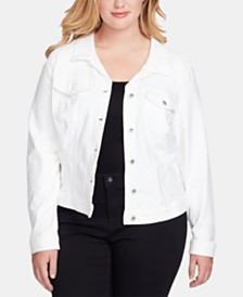 Jessica Simpson Trendy Plus Size Pixie White Denim Jacket