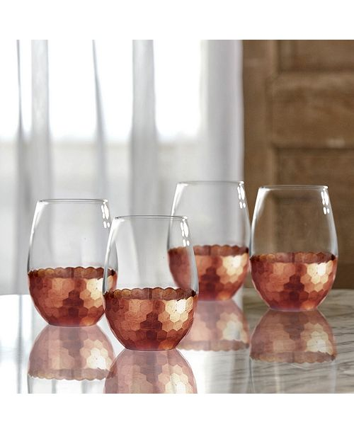 Jay Imports Daphne Copper Set of 4 Stemless Glasses