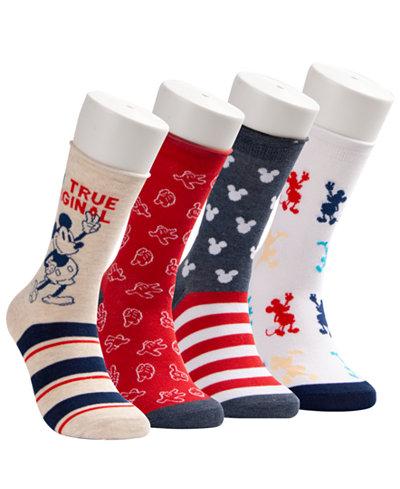 Disney® 4-Pk. Mickey Mouse True Original Crew Socks