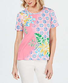 Alfred Dunner Petite Palm Coast Mixed-Print Braided-Neck Top