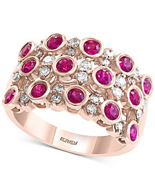 EFFY® Certified Ruby (1-1/8 ct. t.w.) and Diamond (3/8 ct. t.w.) Ring in 14K Rose Gold