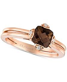 Smoky Quartz (7/8 ct. t.w.) & Diamond Accent Ring in 14k Rose Gold