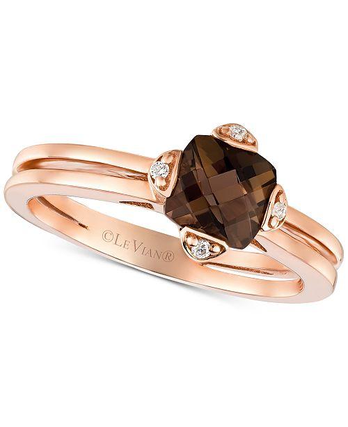Le Vian Smoky Quartz (7/8 ct. t.w.) & Diamond Accent Ring in 14k Rose Gold