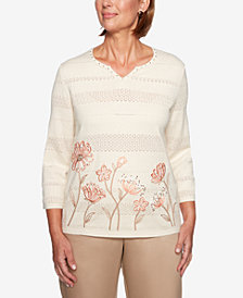 Alfred Dunner Petite Good To Go Floral-Border Sweater