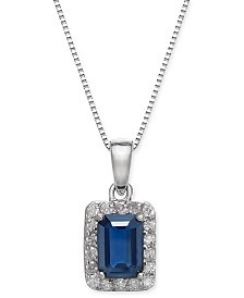 "Sapphire (1-1/6 ct. t.w.) & Diamond (1/6 ct. t.w.) 18"" Pendant Necklace in 14k White Gold"