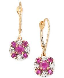 Ruby (1-1/3 ct. t.w.) & Diamond (1/4 ct. t.w.) Drop Earrings in 14k Rose Gold