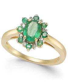Emerald (1 ct. t.w.) & Diamond Accent Ring in 14k Gold
