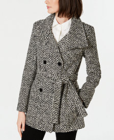 Calvin Klein Belted Textured Basketweave Peacoat