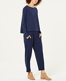 Eileen Fisher Boat-Neck Top & Slouchy Ankle Pants