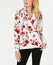 Alfani Floral-Print Piped Top, Created for Macy's