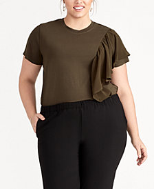 RACHEL Rachel Roy Trendy Plus Size Ruffled Top, Created for Macy's