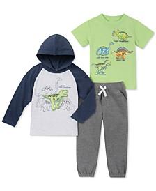 Little Boys 3-Pc. Dino Hooded Shirt, T-Shirt & Joggers Set