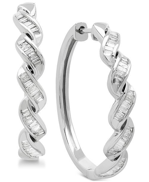 Macy's Diamond Baguette Twist Hoop Earrings (1/2 ct. t.w.) in Sterling Silver