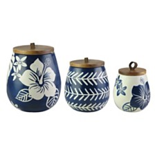 American Atelier Floral Blue and White Canister Set